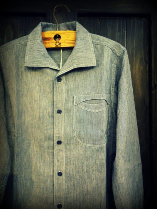 GNARLY NITEKLUB N Indigo Linen Shirt Stripe