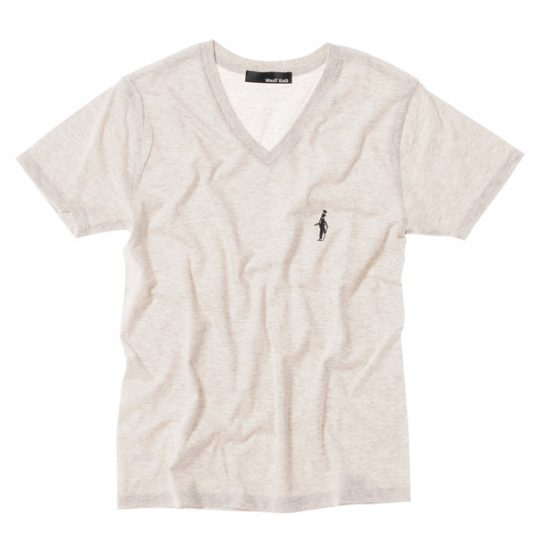WesT EnD V NECK EMBROIDERY TEE Oatmeal