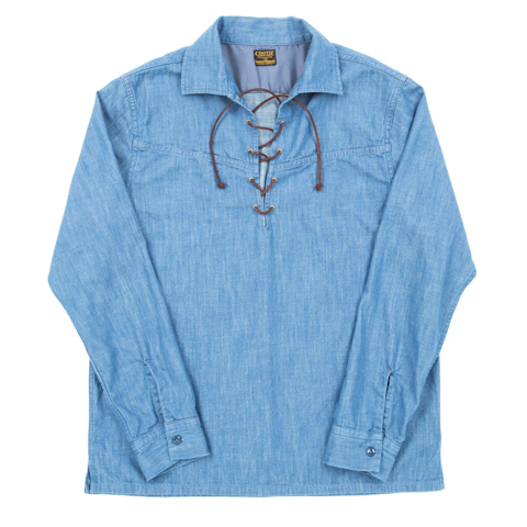 Indigo Lace Up Pullover L/S Shirt
