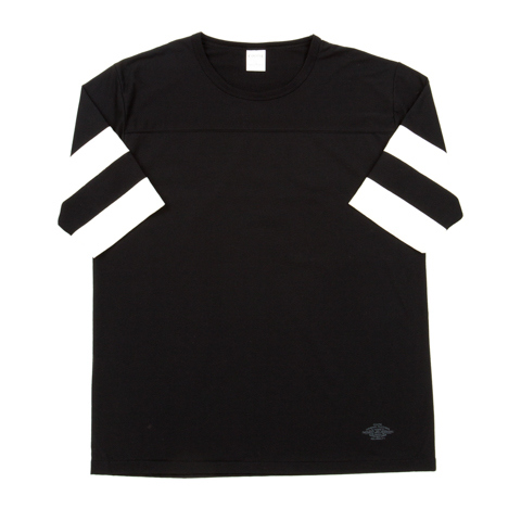3/4 Sleeve Football Tee-Black