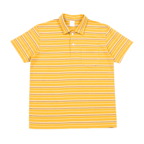 Jacquard Border Polo Shirt-Mustard