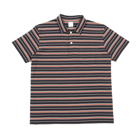 Jacquard Border Polo Shirt-Black