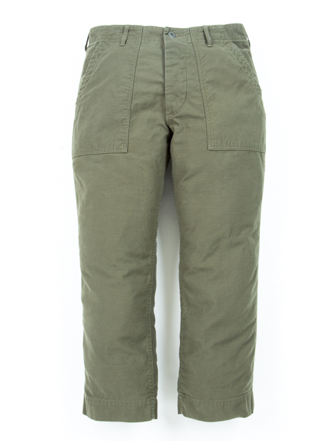 Back Satin Baker Cropped Pants-Olive