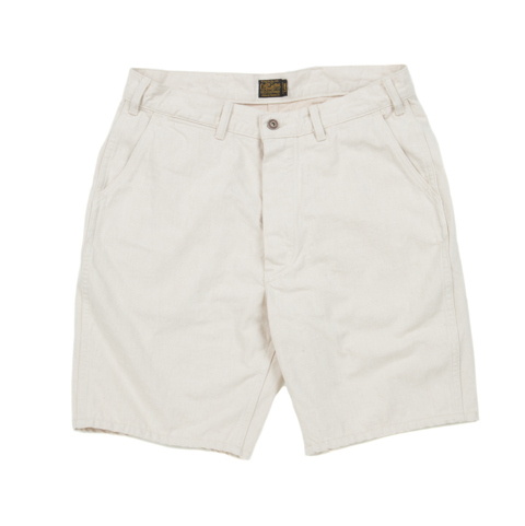 Army Denim Utility Shorts-Ivory