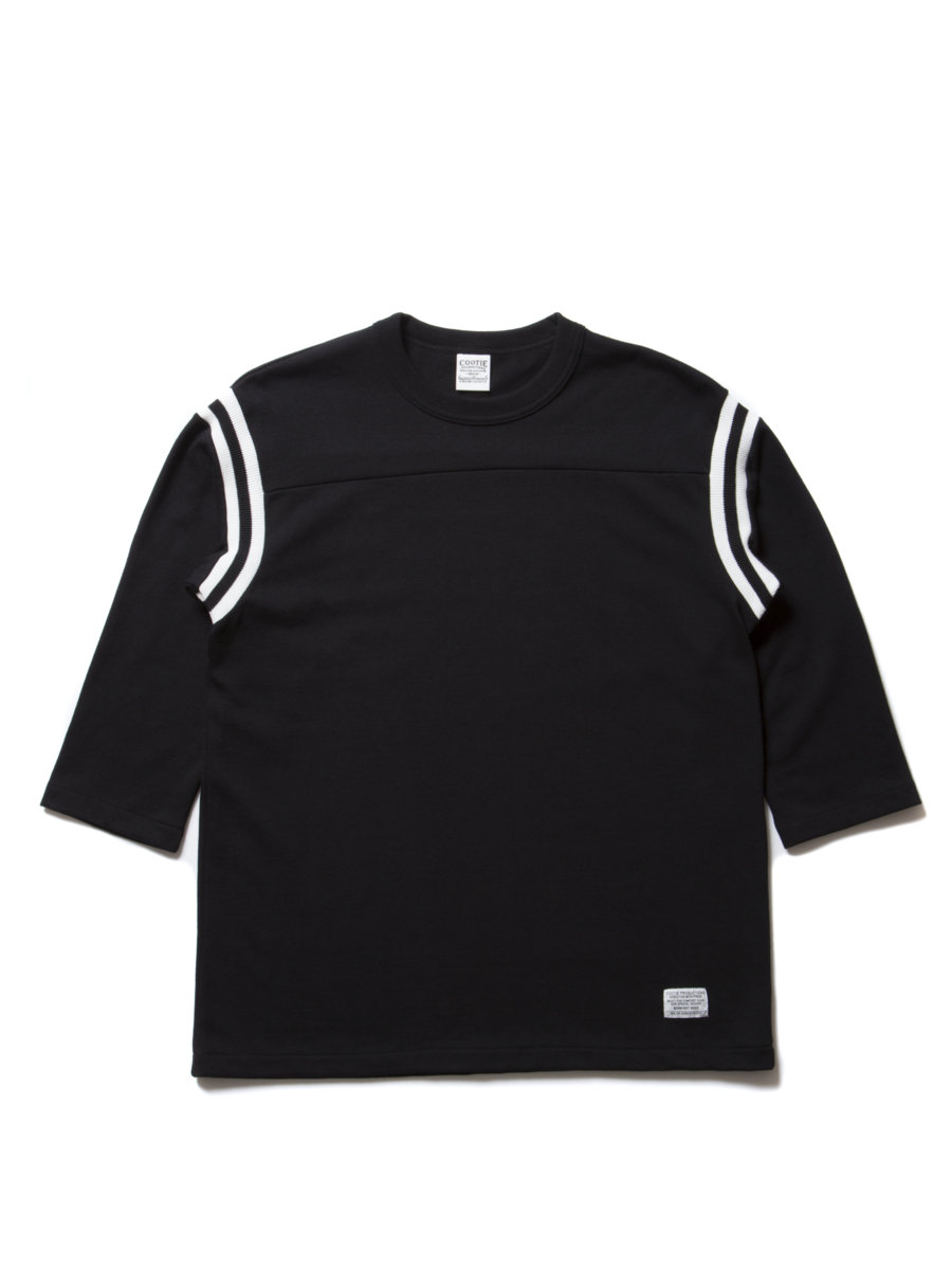 3/4 Sleeve Football Tee-Black-