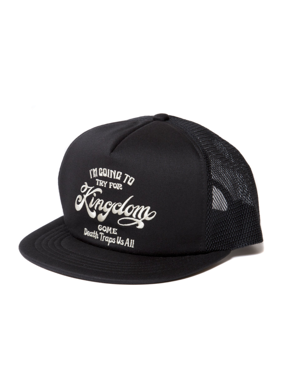 Twill 5 Panel Trucker Cap-Black-