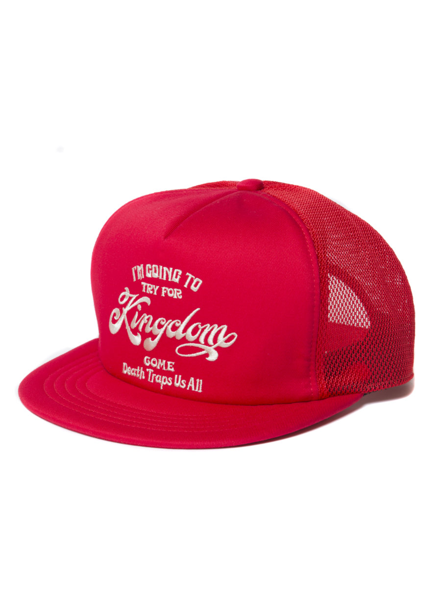 Twill 5 Panel Trucker Cap-Red-