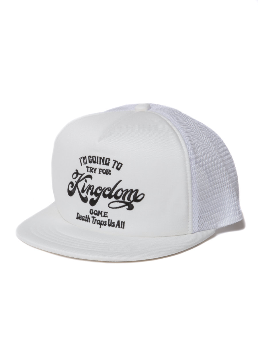 Twill 5 Panel Trucker Cap-White-