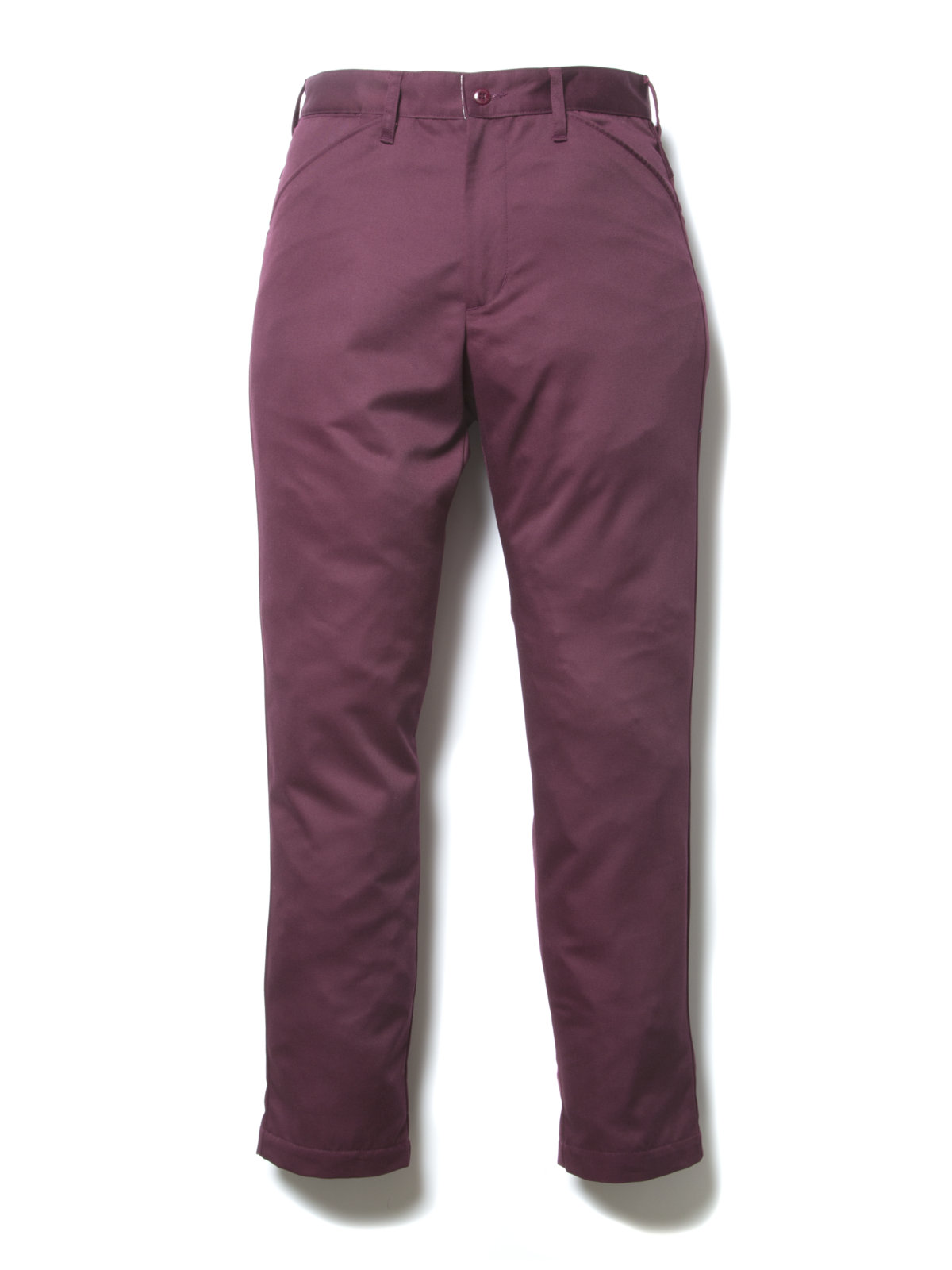 Slim Fit Work Trousers-Burgundy-