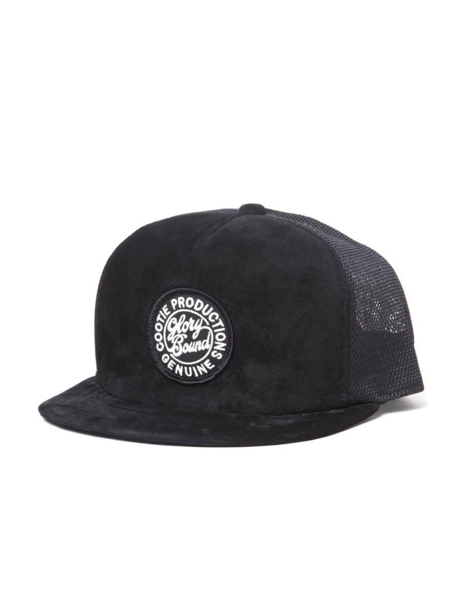 Suede 5 Panel Trucker Cap-Black-