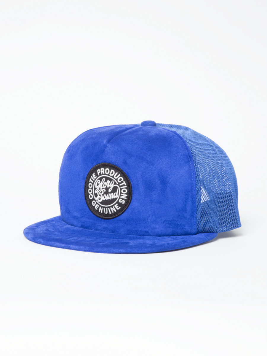 Suede 5 Panel Trucker Cap-Blue-