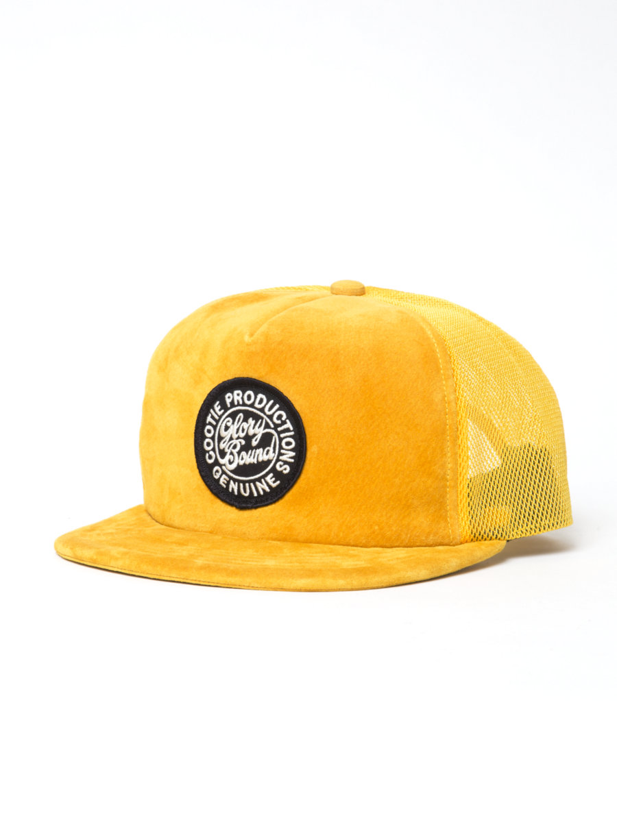Suede 5 Panel Trucker Cap-Yellow-