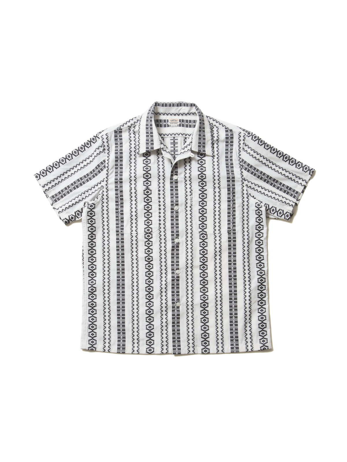 Dobby Stripe S/S Open-Neck Shirt-Ivory-