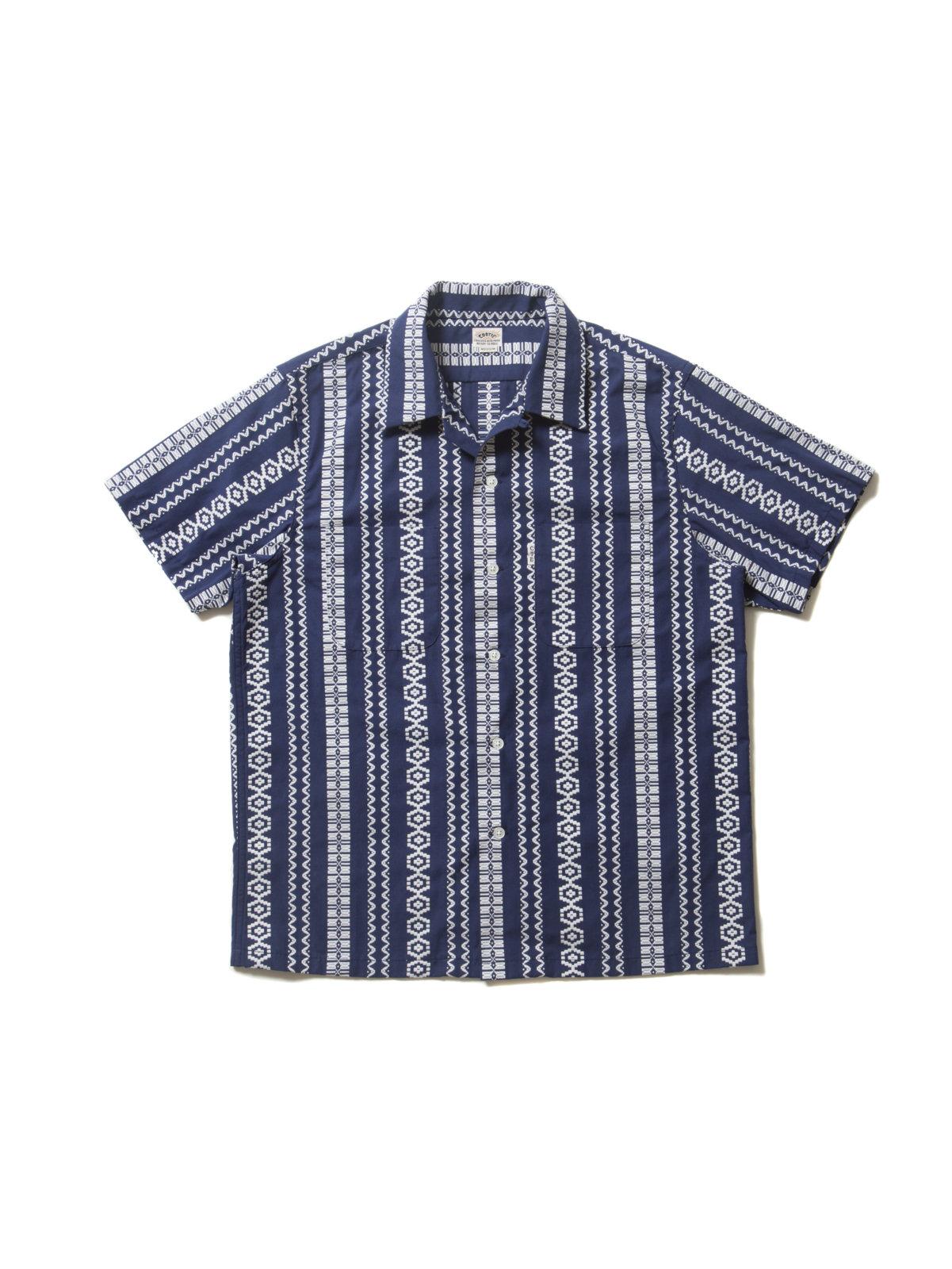 Dobby Stripe S/S Open-Neck Shirt-Navy-