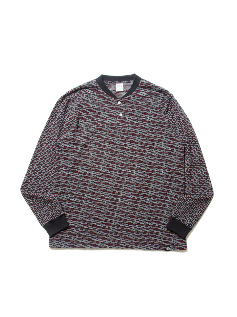 Jacquard L/S Henley-Neck Tee-Red-