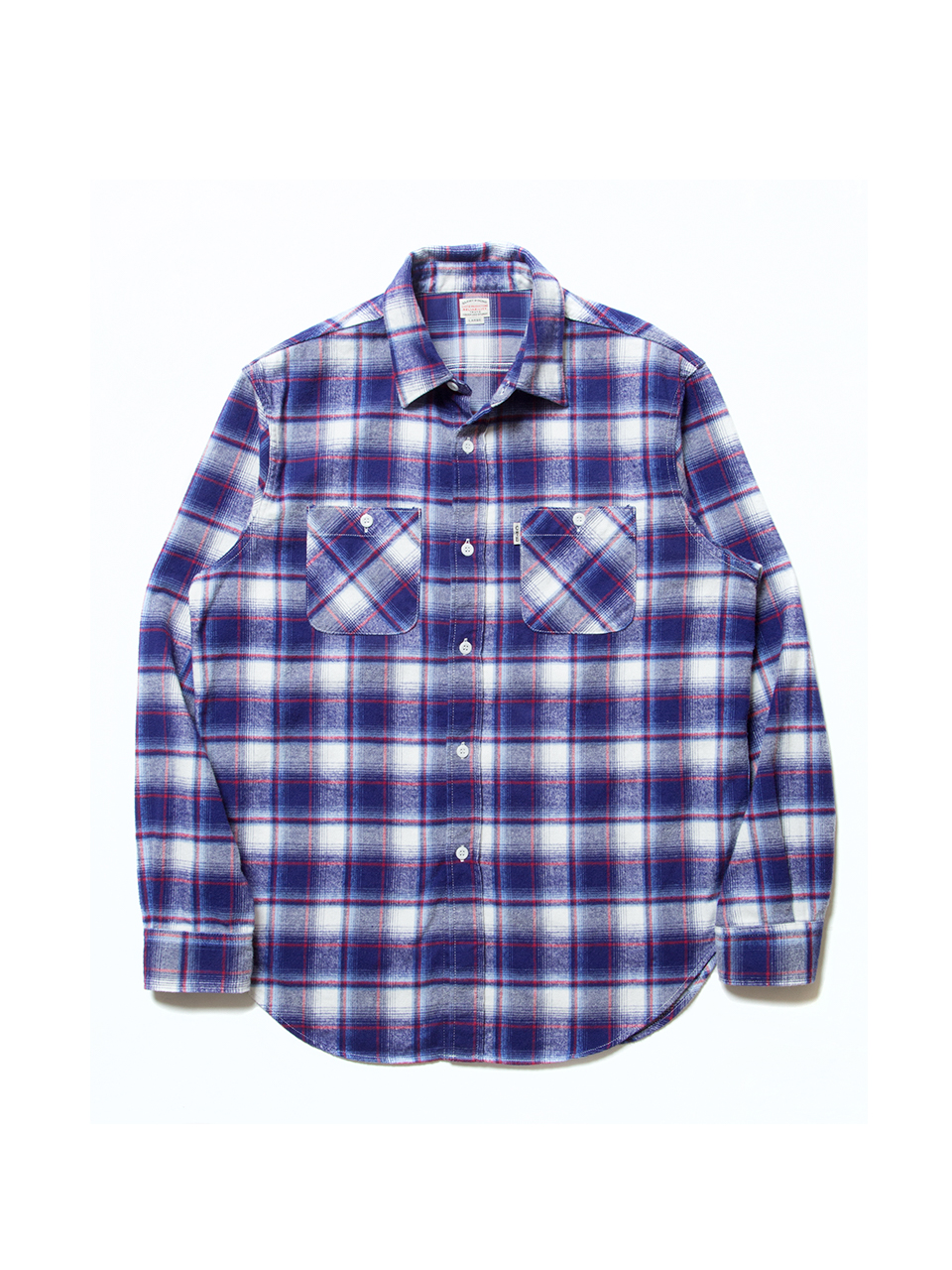 Flannel Check L/S Oversized Shirt-Blue-
