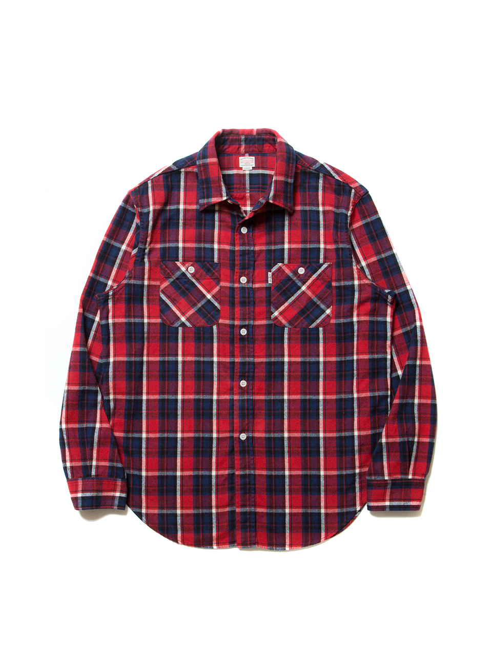 Flannel Check L/S Oversized Shirt-Red-