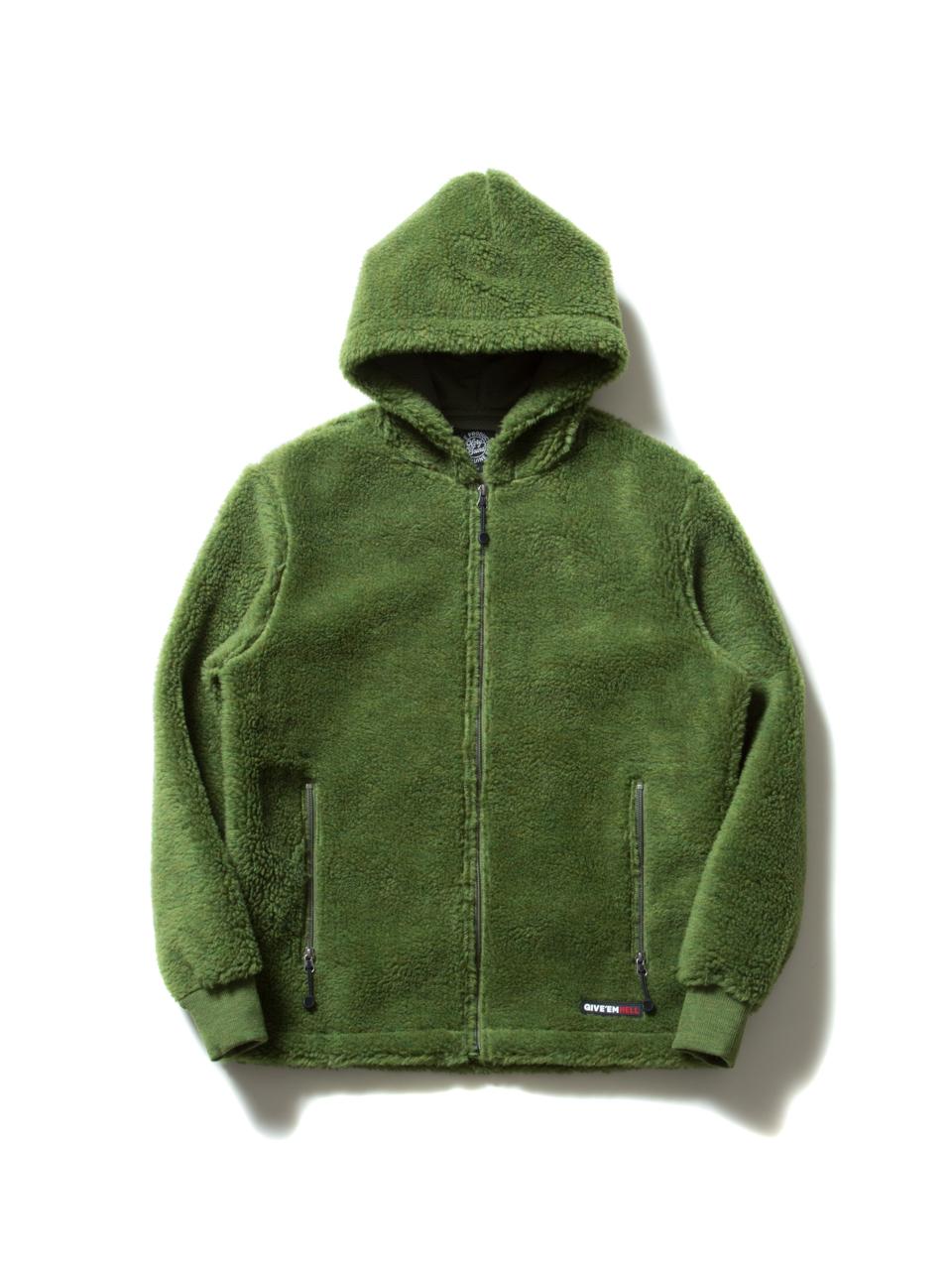 Death Bowl Zip Parka-Green-