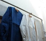 Pleated Denim Shirt.