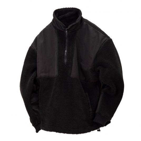 Half Zip Boa Jacket-Black-