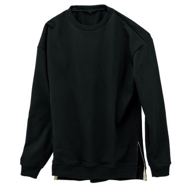 Slit Crewneck Sweatshirt-Black-