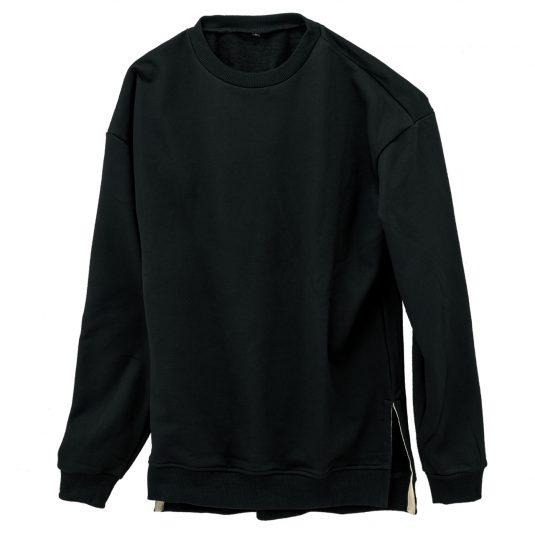 Slit Crewneck Sweatshirt-Black-